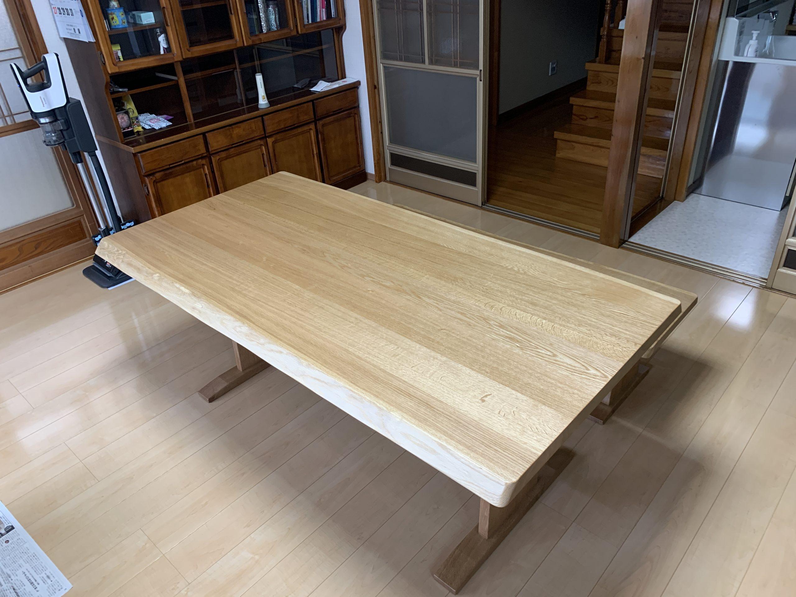 ミズナラ無垢板 ダイニングテーブル&ベンチ