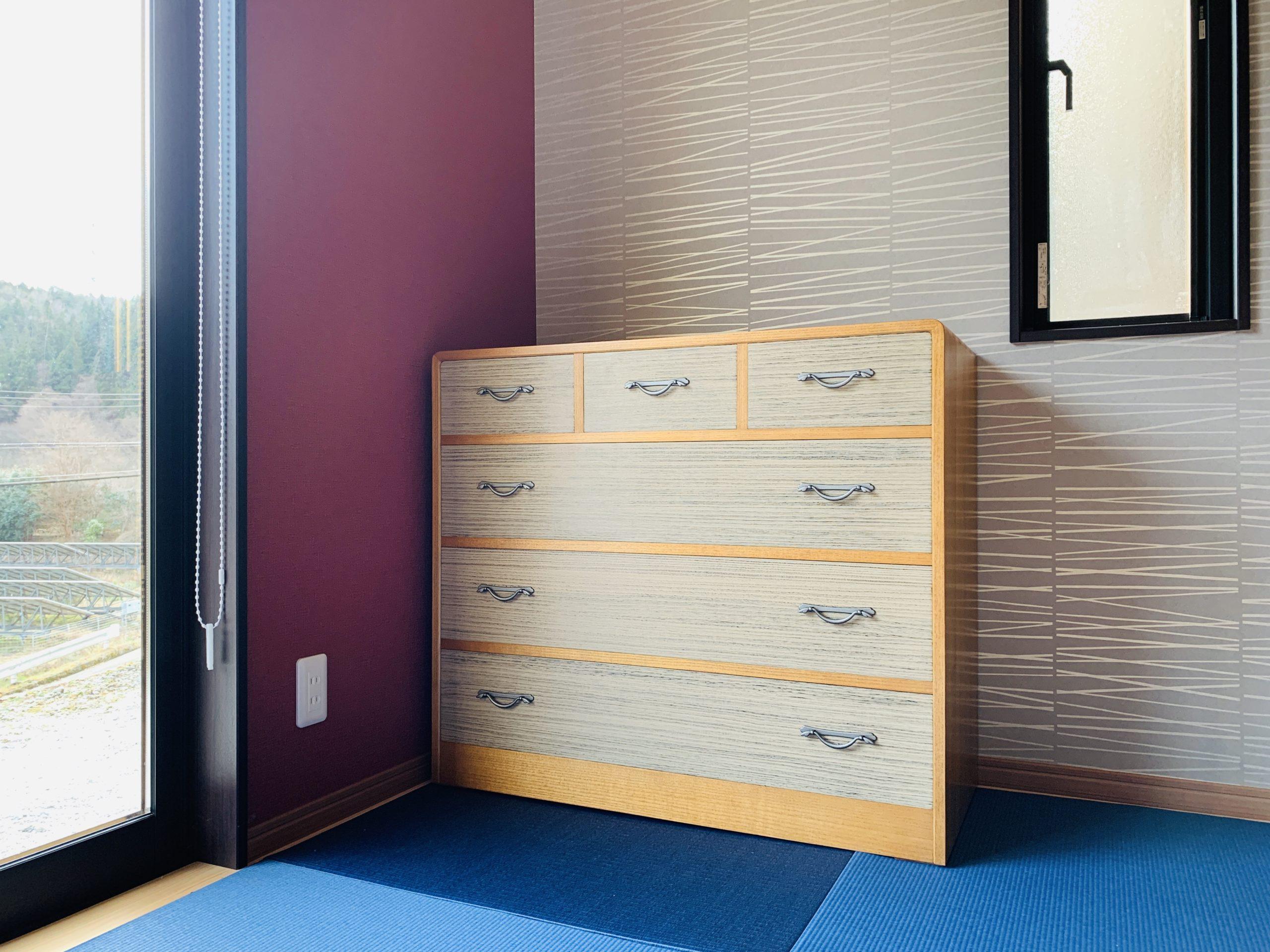 二本松伝統家具 33総桐チェスト 三の三 焼桐時代仕上げ&薄欅色