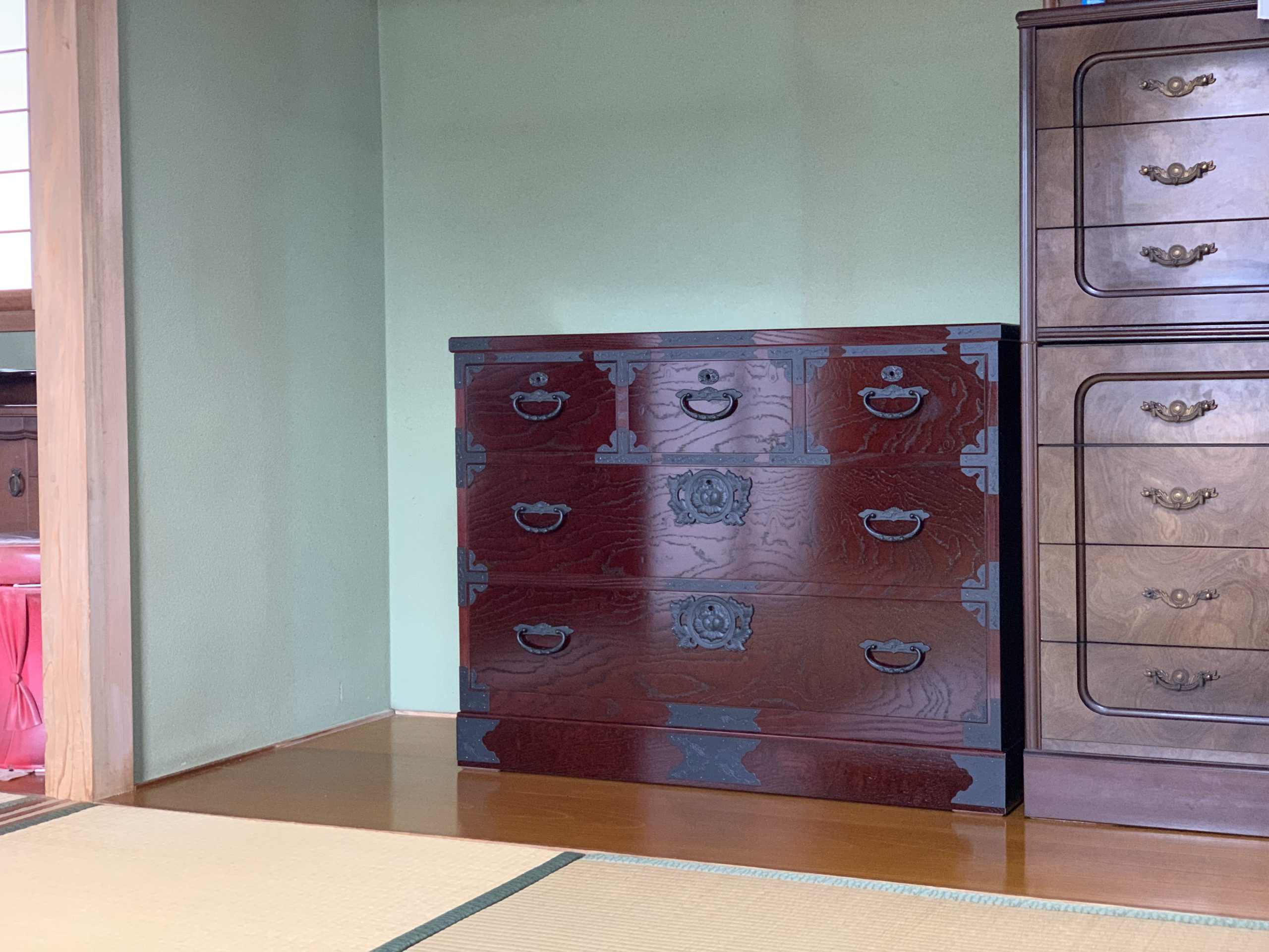 二本松伝統家具 民芸チェスト 二の三 欅玉杢