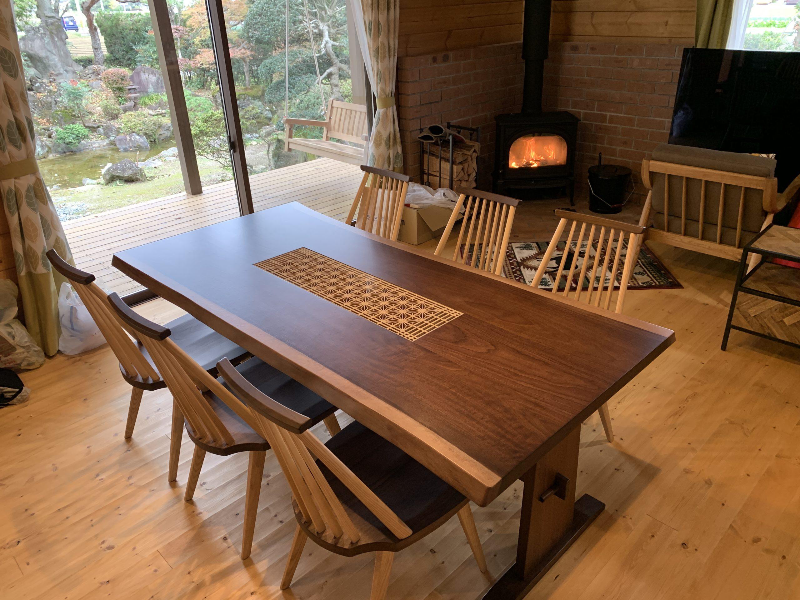 Black walnut x Edo kumiko Dining table