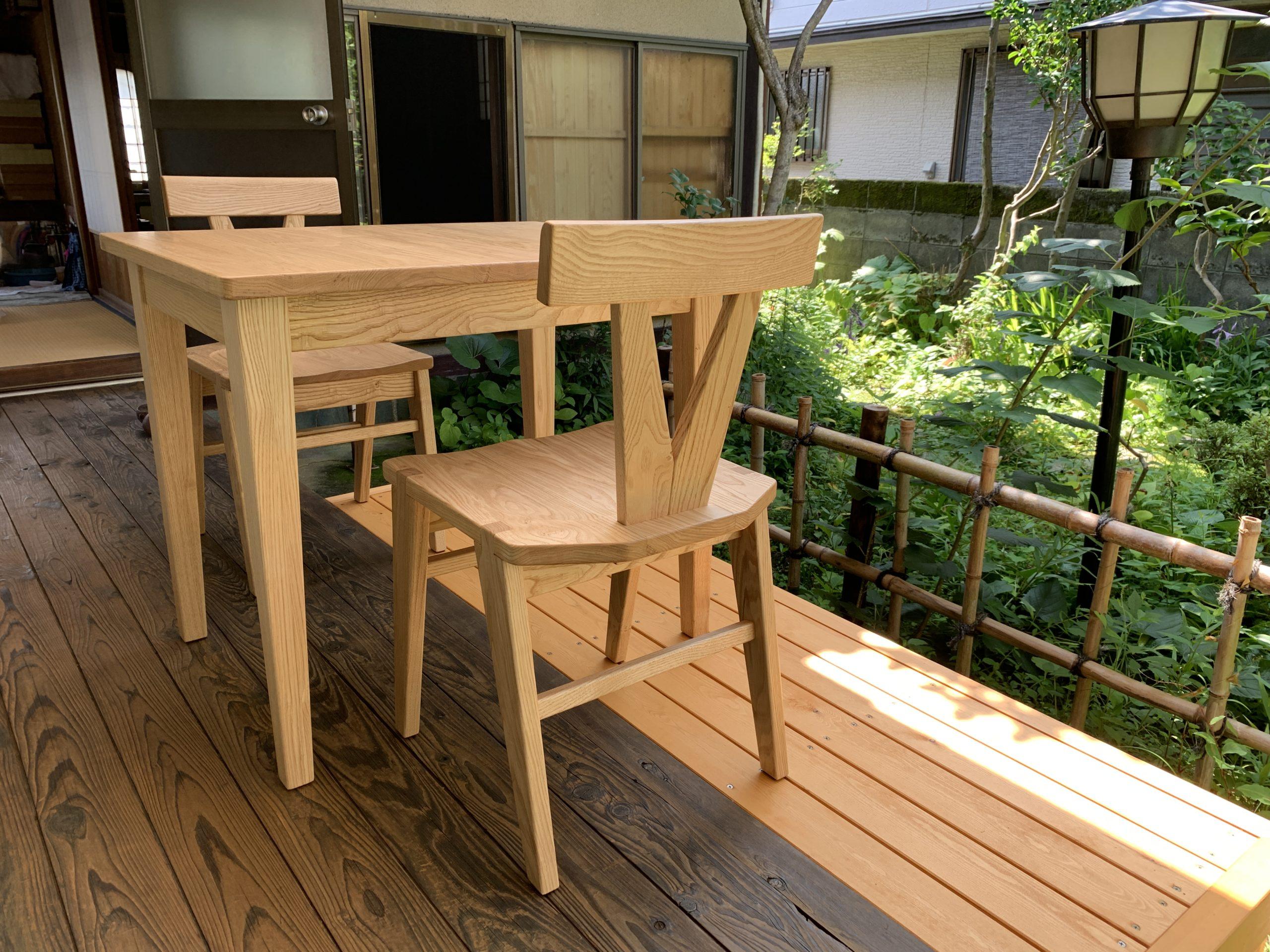 栗無垢材テーブル&チェア