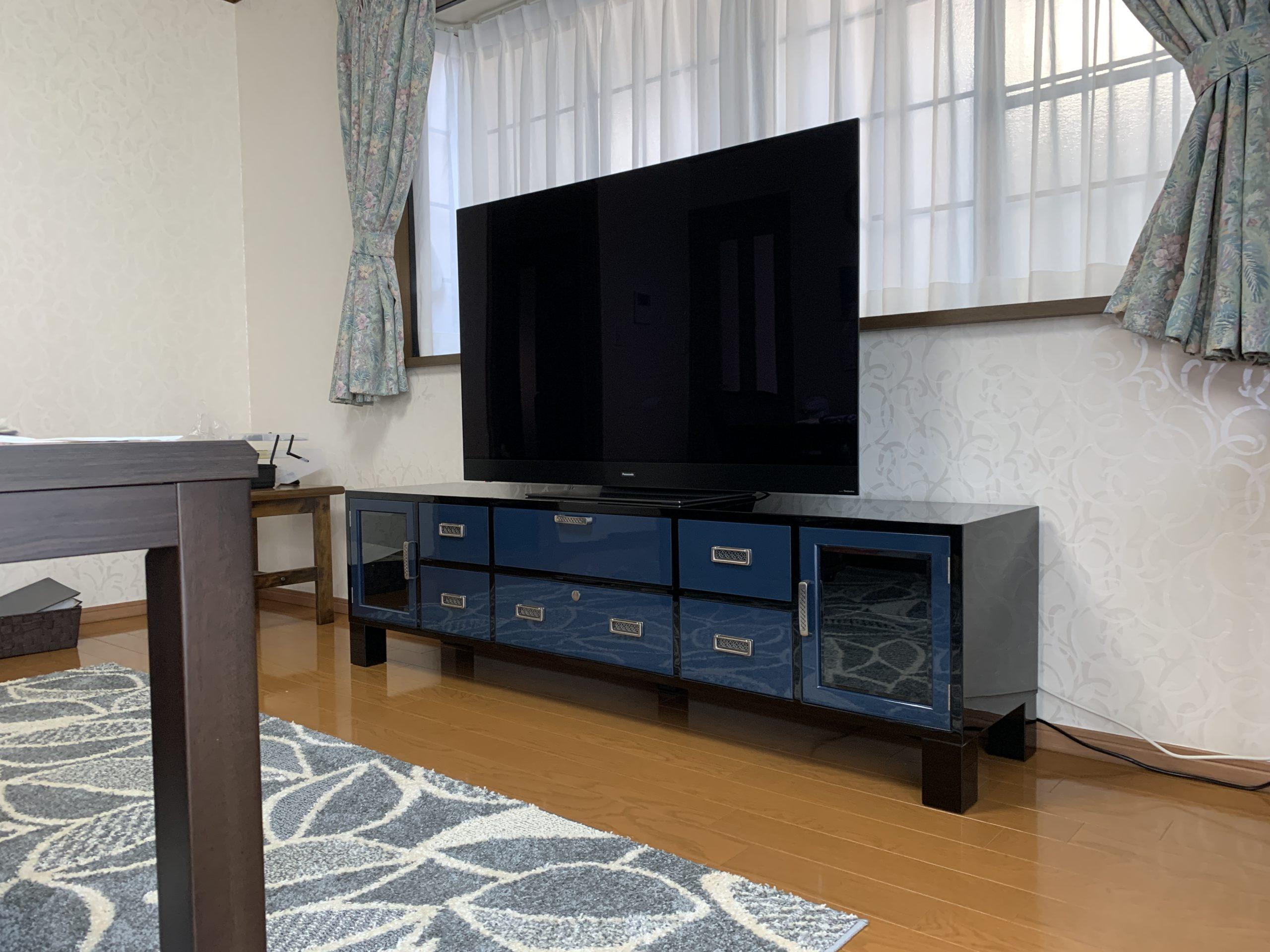 二本松伝統家具 特注モダンテレビボード ブルー&ブラック